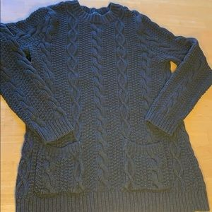 Jeanne Pierre Dark Grey Cable Knit Sweater